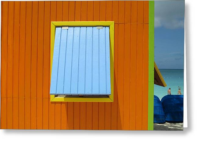 Caribbean Corner Greeting Cards - Orange Cabin Greeting Card by Randall Weidner