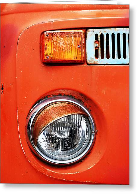 Old Trucks Greeting Cards - Orange Camper Van Greeting Card by Mark Rogan