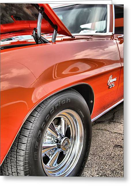 Dukes Of Hazard Show Greeting Cards - Orange Chevelle SS 396 Greeting Card by Dan Sproul