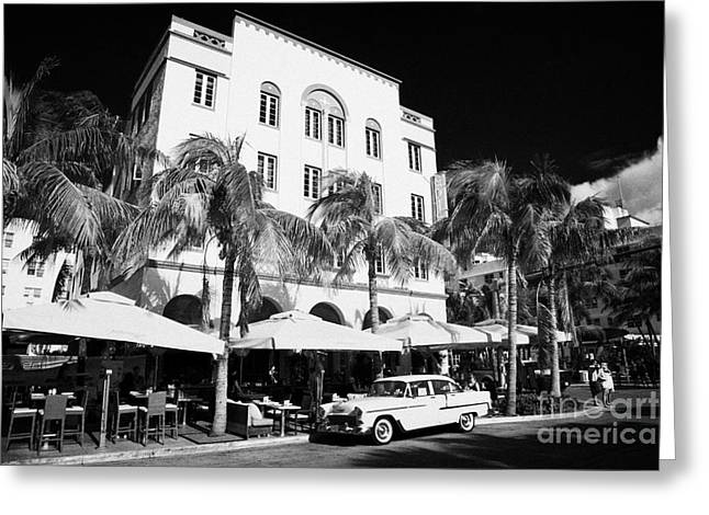orange chevrolet bel air in the cuban style outside the edison hotel Greeting Card by Joe Fox