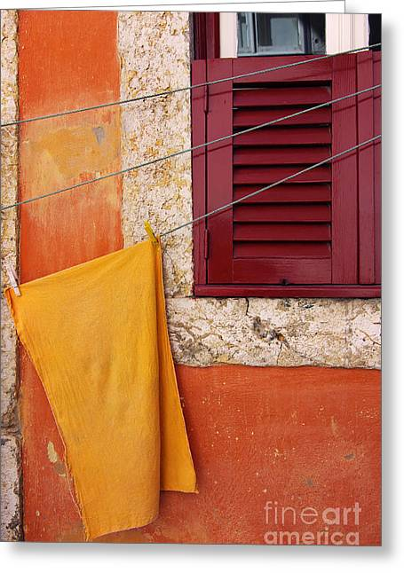 Frame House Greeting Cards - Orange Cloth  Greeting Card by Carlos Caetano