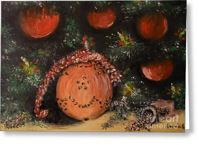 Laurie D Lundquist Greeting Cards - Orange Clover Christmas Greeting Card by Laurie D Lundquist