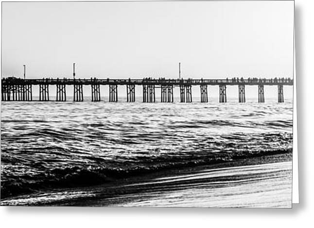 Ocean Black And White Prints Greeting Cards - Orange County California Pier Panorama Picture Greeting Card by Paul Velgos