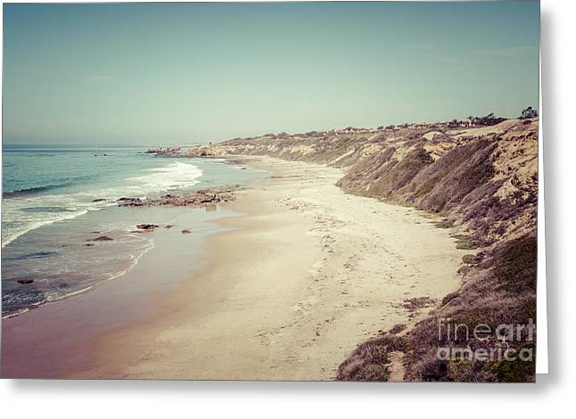 Sea Shore Greeting Cards - Orange County California Retro Photo Greeting Card by Paul Velgos