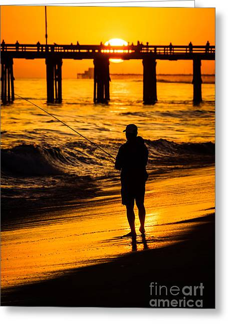 Seascape Photography Greeting Cards - Orange County California  Sunset Fishing Picture Greeting Card by Paul Velgos