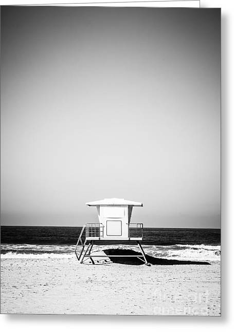 Shack Greeting Cards - Orange County Lifeguard Tower Black and White Picture Greeting Card by Paul Velgos