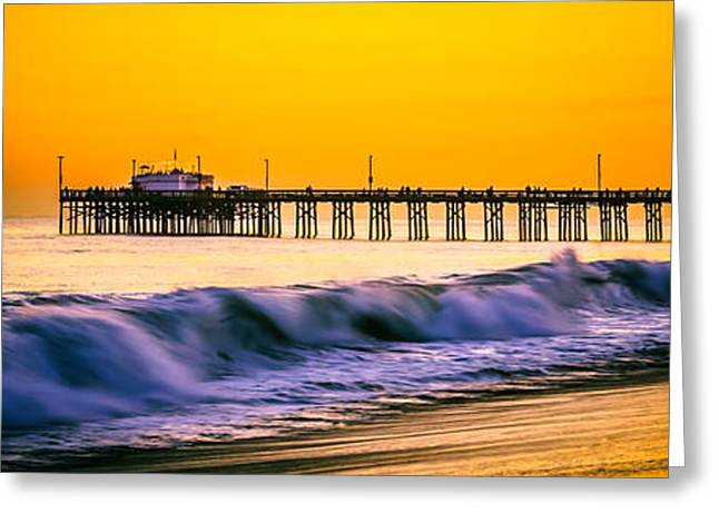 Pacific Ocean Prints Greeting Cards - Orange County Panoramic Sunset Picture Greeting Card by Paul Velgos