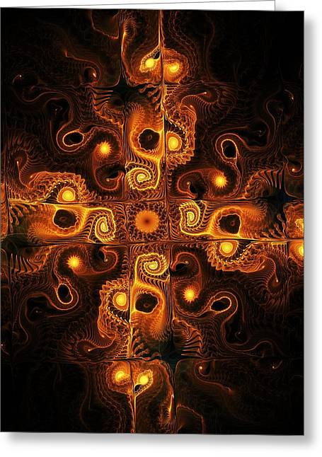 Mazes Mixed Media Greeting Cards - Orange Cross Greeting Card by Anastasiya Malakhova