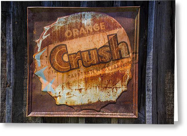 Signed Photographs Greeting Cards - Orange Crush Sign Greeting Card by Garry Gay