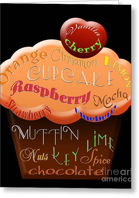 Spice Mixed Media Greeting Cards - Orange Cupcake Typography Greeting Card by Andee Design