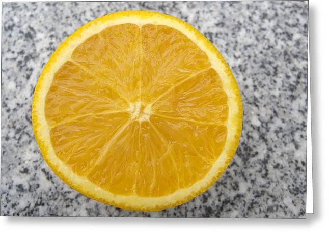 Orange Cut In Half Grey Background Greeting Card by Matthias Hauser