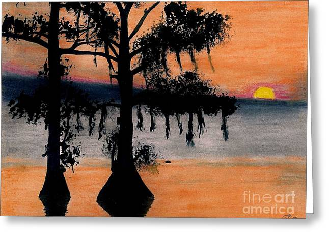 Moss Drawings Greeting Cards - Orange Cypress Sunset Greeting Card by D Hackett