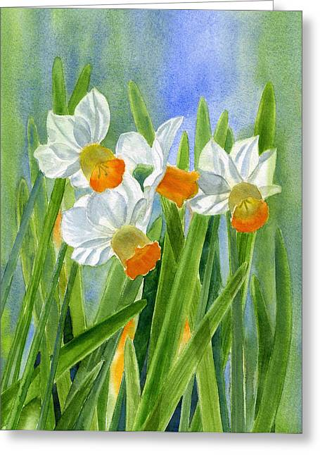 Orange Daffodils With Background Greeting Card by Sharon Freeman