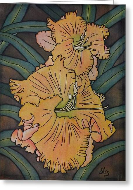 Blooms Tapestries - Textiles Greeting Cards - Orange daylily Greeting Card by Edvinas Misiukevicius