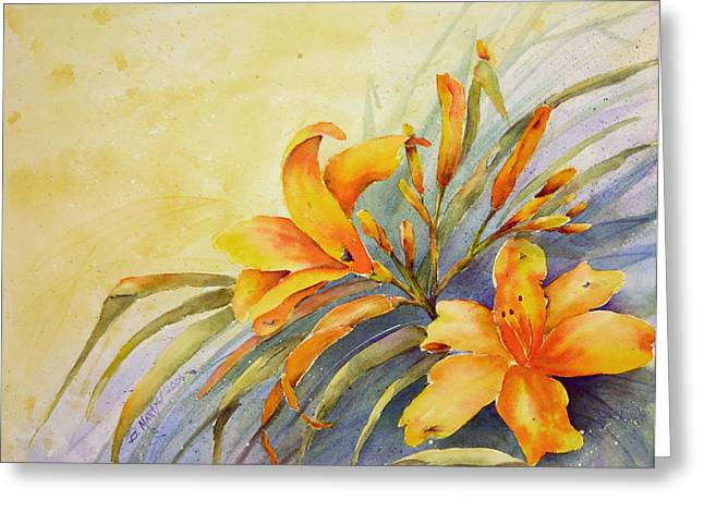Day Lilly Paintings Greeting Cards - Orange Daylilys Greeting Card by Betty Martyn