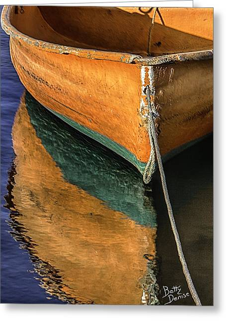 Rockport Ma Greeting Cards - Orange Dinghy in Warm Sun Greeting Card by Betty Denise