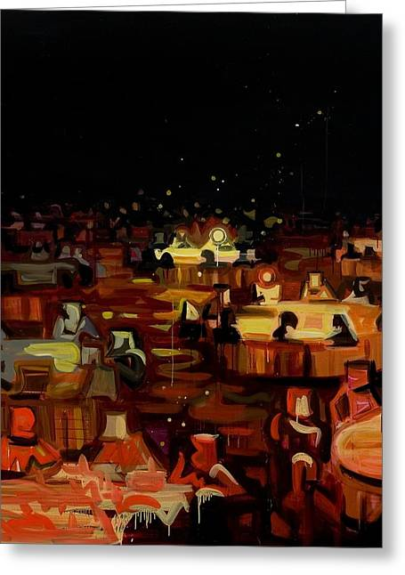 Gathering Greeting Cards - Orange Dining Room 2 Greeting Card by Susie Hamilton