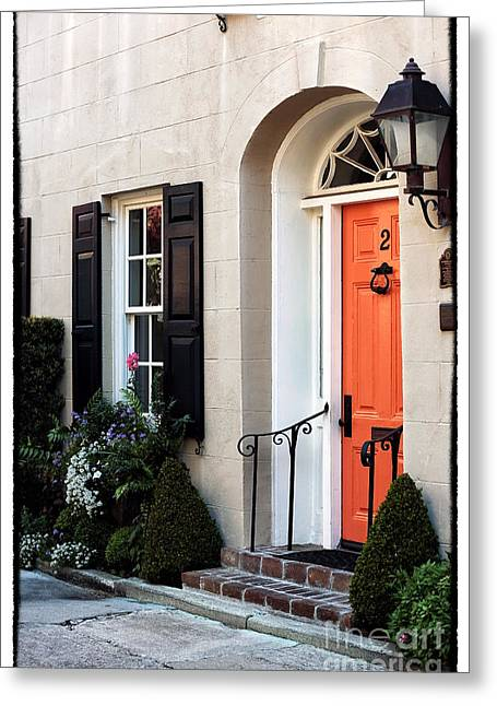 Old School Houses Greeting Cards - Orange Door in Charleston Greeting Card by John Rizzuto