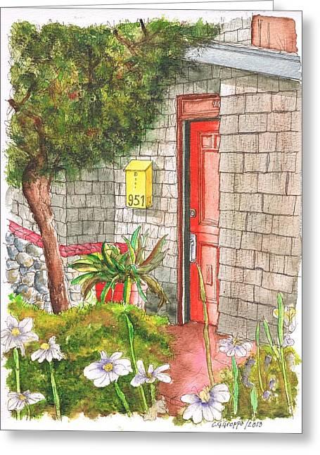 Architecrure Greeting Cards - Orange door in Laguna Beach - California Greeting Card by Carlos G Groppa