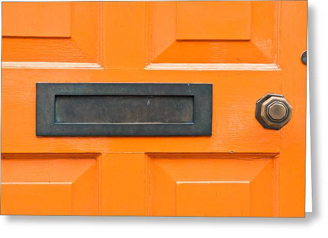 Filter Art Greeting Cards - Orange door Greeting Card by Tom Gowanlock