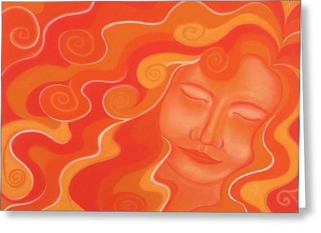 Curly Hair Pastels Greeting Cards - Orange Greeting Card by Doris Araujo
