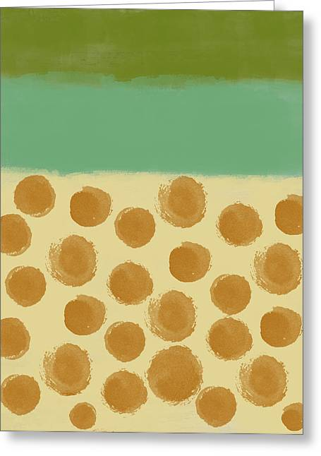 Contemporary Design Greeting Cards - Orange dots Greeting Card by Aged Pixel