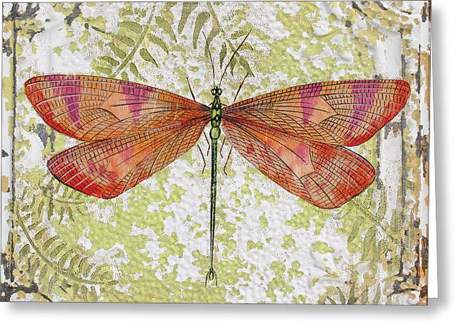 Metal Dragonfly Greeting Cards - Orange Dragonfly on Vintage Tin Greeting Card by Jean Plout