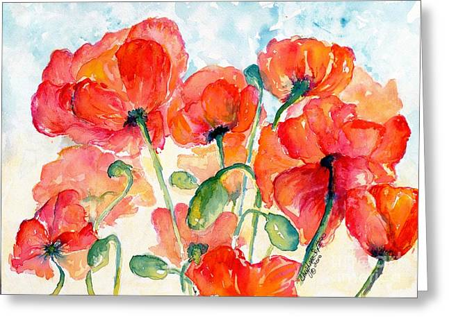 Salmon Paintings Greeting Cards - Orange Field of Poppies watercolor Greeting Card by CheyAnne Sexton
