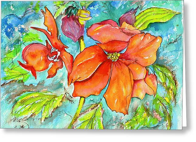 Orange Fire Flower Greeting Card by Ion vincent DAnu