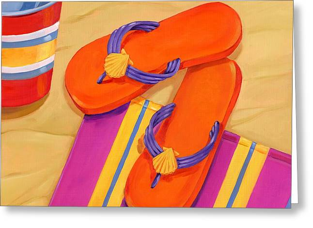 Flip Greeting Cards - Orange Flip Flops Greeting Card by Paul Brent