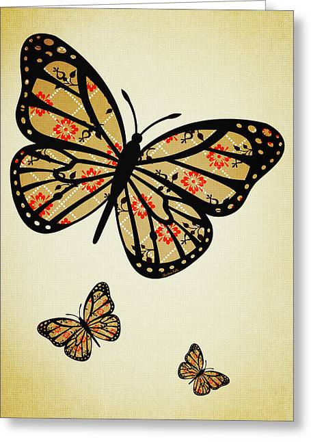 Orange And Brown Designs Greeting Cards - Orange Floral Pattern Aged Greeting Card by Christina Rollo