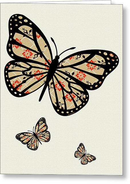 Orange And Brown Designs Greeting Cards - Orange Floral Pattern Art Greeting Card by Christina Rollo