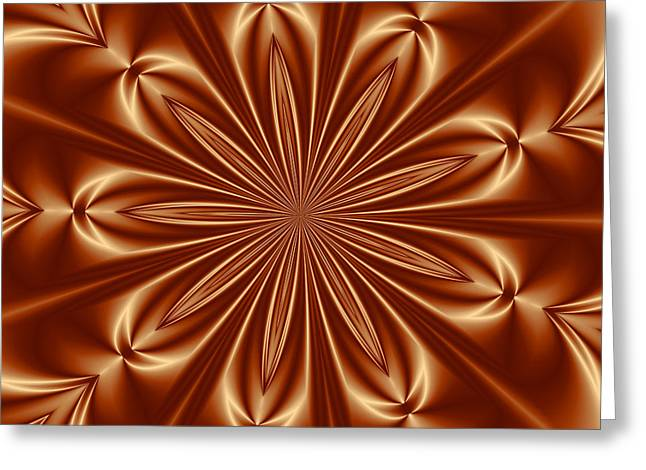 Becky Digital Art Greeting Cards - Orange Flower Burst PhotoArt Greeting Card by Becky Hayes