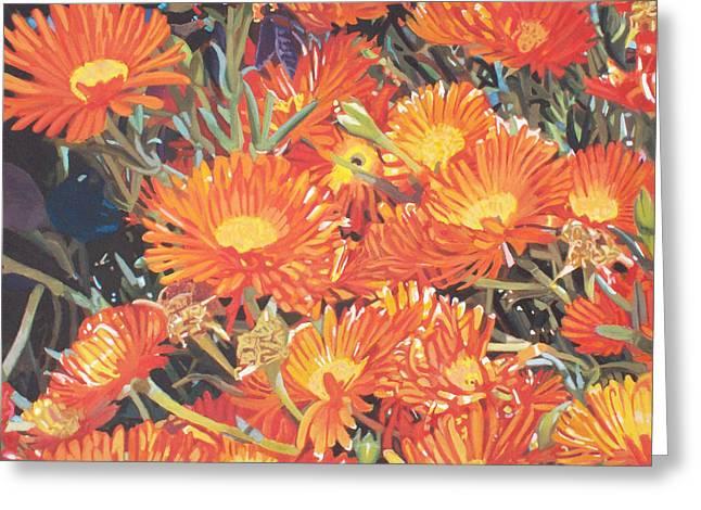 Photorealist Greeting Cards - Orange flowers Greeting Card by Bert Ernie
