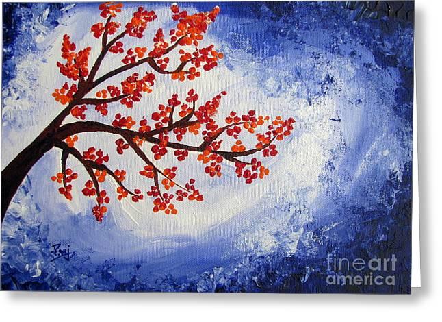 Original Paining Greeting Cards - Orange flowers with Blue sky Acrylic painting Greeting Card by Prajakta P