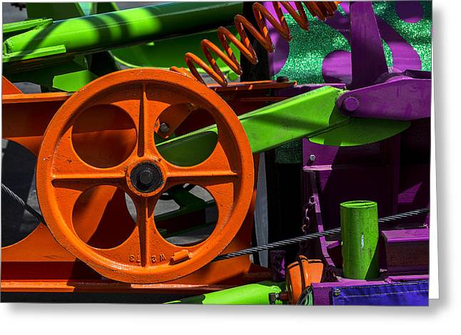 Rotation Photographs Greeting Cards - Orange gear Greeting Card by Garry Gay
