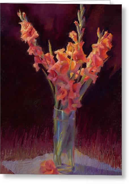 Melon Greeting Cards - Orange Gladiolus  Greeting Card by Cathy Locke