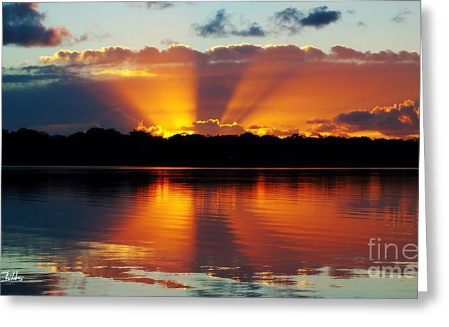 Surises Greeting Cards - Orange Gods - Sunrise Panorama Greeting Card by Geoff Childs