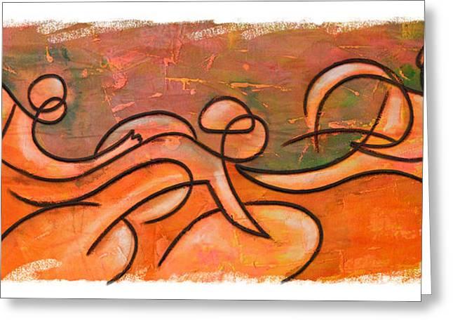 Ironman Paintings Greeting Cards - Orange green triathlon sequence Greeting Card by Alejandro Maldonado