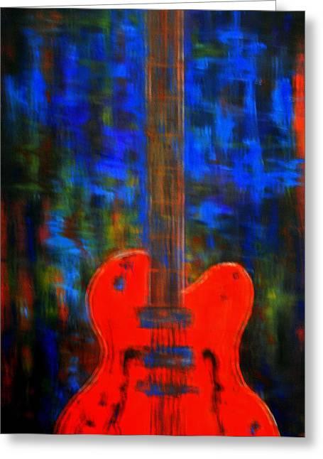 """fret Board"" Greeting Cards - Orange Gretsch Guitar Greeting Card by Kathy Peltomaa Lewis"