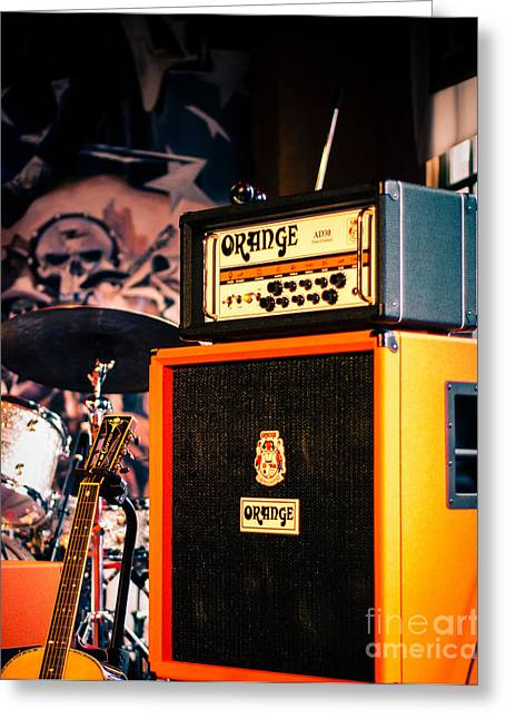 Sonja Quintero Greeting Cards - Orange Guitar Amps Greeting Card by Sonja Quintero