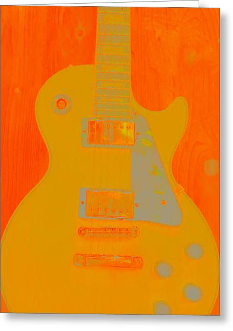 Taylor Guitar Greeting Cards - Orange Guitar  Greeting Card by Susan Stone