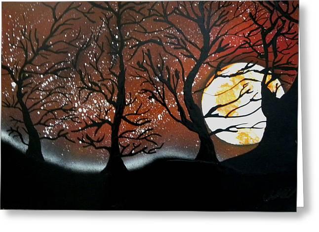 Harvest Deco Paintings Greeting Cards - Orange harvest moon Greeting Card by Chris DeVries