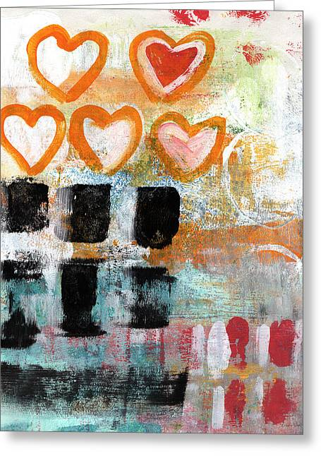 Coffee Mixed Media Greeting Cards - Orange Hearts- abstract painting Greeting Card by Linda Woods