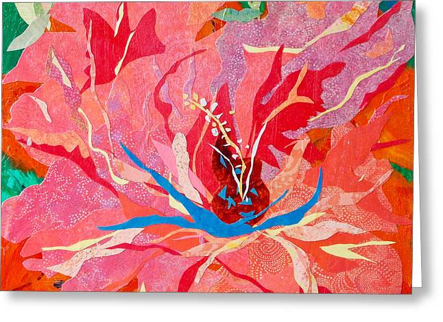 Kat Mixed Media Greeting Cards - Orange Hibiscus Collage Greeting Card by Kat Ebert