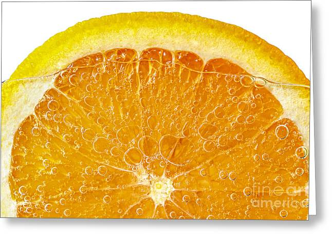 Healthy Greeting Cards - Orange in water Greeting Card by Elena Elisseeva