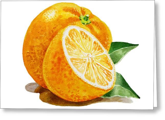 Dine Greeting Cards - ArtZ Vitamins An Orange Greeting Card by Irina Sztukowski