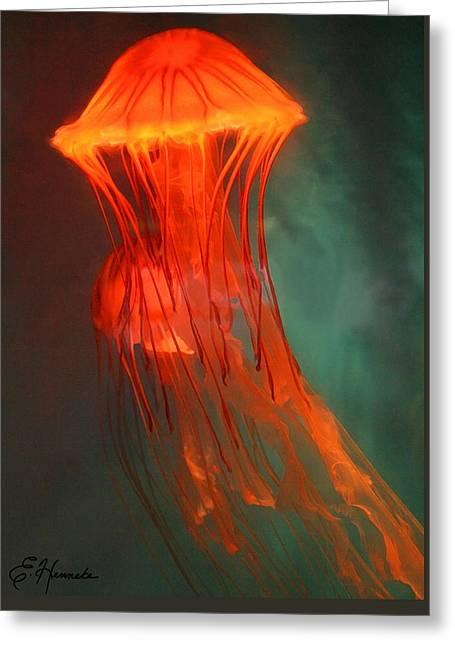 Jelly Fish Paintings Greeting Cards - Orange Jellies Greeting Card by Ellen Henneke