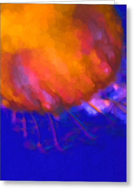 Jelly Fish Greeting Cards - Orange Jellyfish Ocean Art   Greeting Card by Priya Ghose