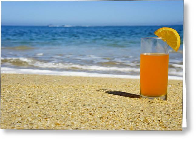Fresh Food Greeting Cards - Orange Juice Greeting Card by Aged Pixel